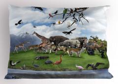 Hayvanlar Alemi ve Doğa Yastık Kılıfı Yeşil
