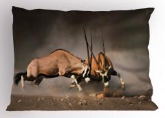 Antilop Temalı Yastık Kılıfı Kahverengi Vahşi Doğa