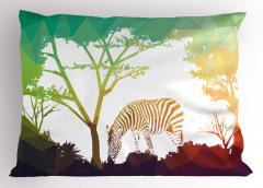 Ormandaki Zebra Temalı Yastık Kılıfı Yeşil Kahverengi