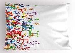Rengarenk Nota Desenli Yastık Kılıfı Müzik Beyaz Zemin