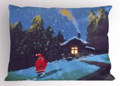 Noel Baba ve Kış Gecesi Yastık Kılıfı Mavi Kar