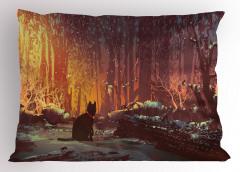 Perili Ormandaki Kedi Yastık Kılıfı Turuncu Şık