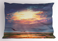 Altın Işıklı Gökyüzü Yastık Kılıfı Kuş Bulut