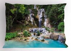 Mavi Şelale Manzaralı Yastık Kılıfı Yeşil Ağaç Doğa
