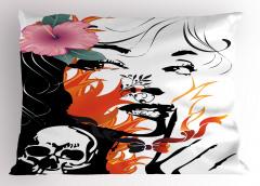 Kuru Kafa Kız ve Çiçek Yastık Kılıfı Dekoratif