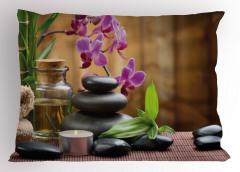 Feng Shui Temalı Yastık Kılıfı Siyah Taş ve Orkideli