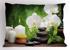 Orkide Mum ve Taş Yastık Kılıfı Spa Efektli