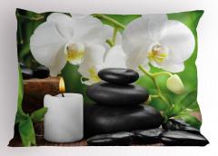 Taş Orkide ve Mum Yastık Kılıfı Spa Efektli