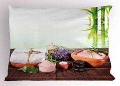 Spa Etkili Bambu Temalı Yastık Kılıfı Mor Çiçekli