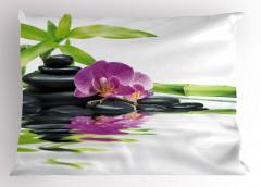 Mor Orkide ve Siyah Taş Yastık Kılıfı Dekoratif