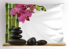 Orkide ve Siyah Taşlar Yastık Kılıfı Dekoratif