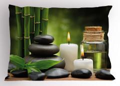 Bambu Taş ve Mum Temalı Yastık Kılıfı Şık Dekoratif