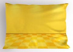 Spot Lambalı Sarı Yastık Kılıfı Damalı Efektli