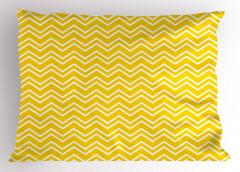 Sarı Beyaz Zikzak Yastık Kılıfı Şık Tasarım