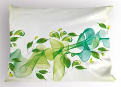Yaprak ve Kurdele Yastık Kılıfı Yeşil Mavi