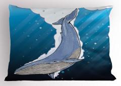 Şık Deniz ve Balina Yastık Kılıfı Mavi Beyaz