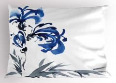 Gri Mavi Çiçek Desenli Yastık Kılıfı Şık Dekoratif