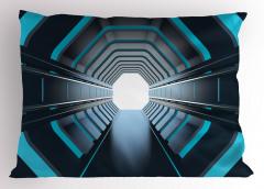 Mavi Işıklı Tünel Yastık Kılıfı Siyah Uzay