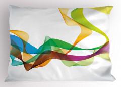 Rengarenk Dalga Desenli Yastık Kılıfı Kurdele Efektli