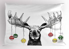 Noel Geyiği Temalı Yastık Kılıfı Siyah Beyaz Trend