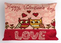 Aşık Baykuşlar Temalı Yastık Kılıfı Pembe Kırmızı Şık