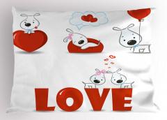 Kalpli Köpek Desenli Yastık Kılıfı Aşk Temalı Kırmızı