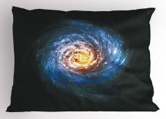 Kozmik Temalı Yastık Kılıfı Sarmal Desenli Mavi Uzay