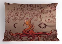 Ağaç Desenli Yastık Kılıfı Kahverengi Güneş ve Ay