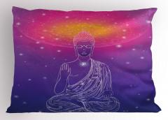 Budist Heykel Desenli Yastık Kılıfı Mistik Tasarım