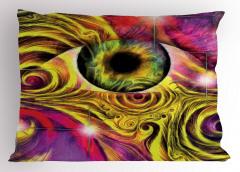 Yeşil Göz Desenli Yastık Kılıfı Dalgalı