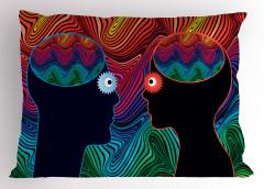 İnsan Yüzleri Desenli Yastık Kılıfı Kadın ve Erkek
