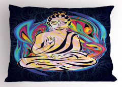 Kadın Buda Heykeli Desenli Yastık Kılıfı Rengarenk