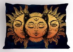 Güneşin Yüzü Desenli Yastık Kılıfı Sarı Lacivert