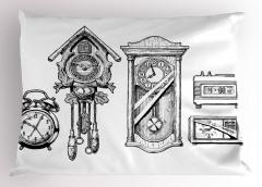 Eski ve Yeni Saatler Yastık Kılıfı Siyah Beyaz Şık