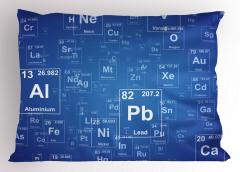 Elementler Desenli Yastık Kılıfı Mavi Şık Tasarım