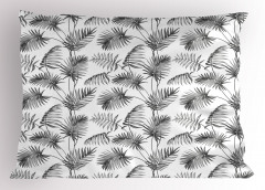 Palmiye Ağacı Desenli Yastık Kılıfı Gri Dekoratif