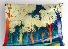 Sarı Ağaçlar ve Orman Yastık Kılıfı Mavi Şık