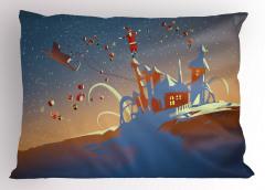 Noel Baba ve Hediyeleri Yastık Kılıfı Mavi Şık