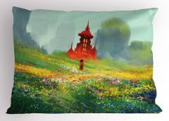 Kırdaki Kız Temalı Yastık Kılıfı Yeşil Kale Çiçek