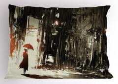 Şemsiyeli Kadın Temalı Yastık Kılıfı Gri Şık Tasarım