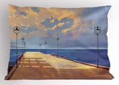Köprü ve Gökyüzü Temalı Yastık Kılıfı Sarı Mavi Deniz