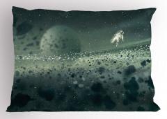 Astronot ve Uzay Temalı Yastık Kılıfı Gri Gezegen