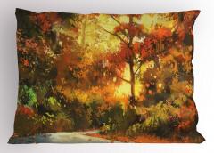 Orman Yolu Temalı Yastık Kılıfı Turuncu Şık Tasarım
