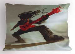 Kırmızı Gitar Müzisyen Yastık Kılıfı Müzik