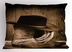 Kovboy Temalı Yastık Kılıfı Şapka Çizme Kahverengi