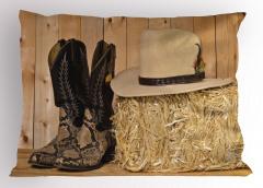 Çizme Sarı Şapka Yastık Kılıfı Kahve