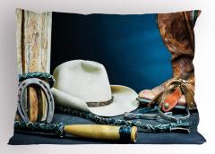 Kovboy Çizmesi ve Şapka Yastık Kılıfı Lacivert