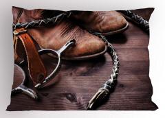Kovboy Temalı Yastık Kılıfı Çizme Çiftlik Kahverengi