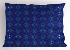 Şık Lacivert ve Mavi Yastık Kılıfı Geometrik