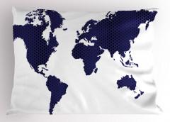 Lacivert Dünya Desenli Yastık Kılıfı Siyah Puantiyeli